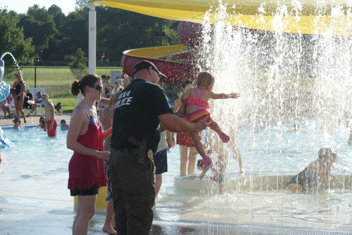 POLICE AND WATER SPRINKLER