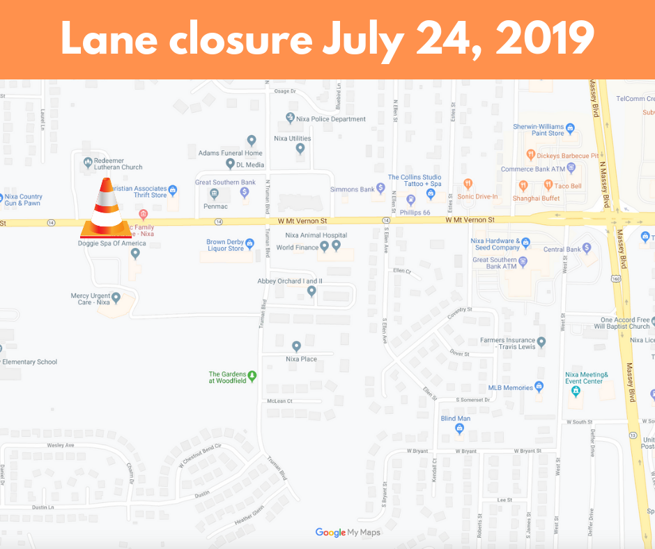 Lane closure July 24, 2019