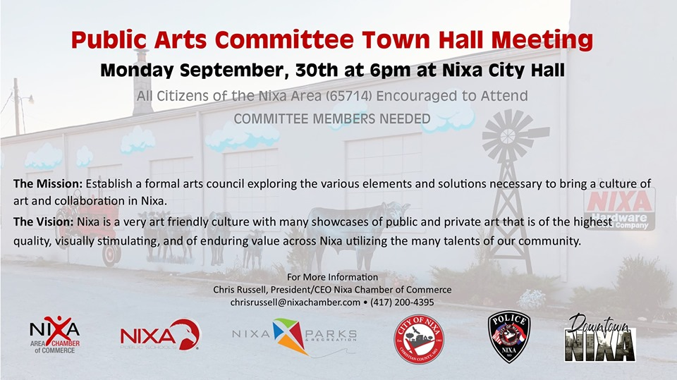 Public Art Town Hall invite Sept. 2019