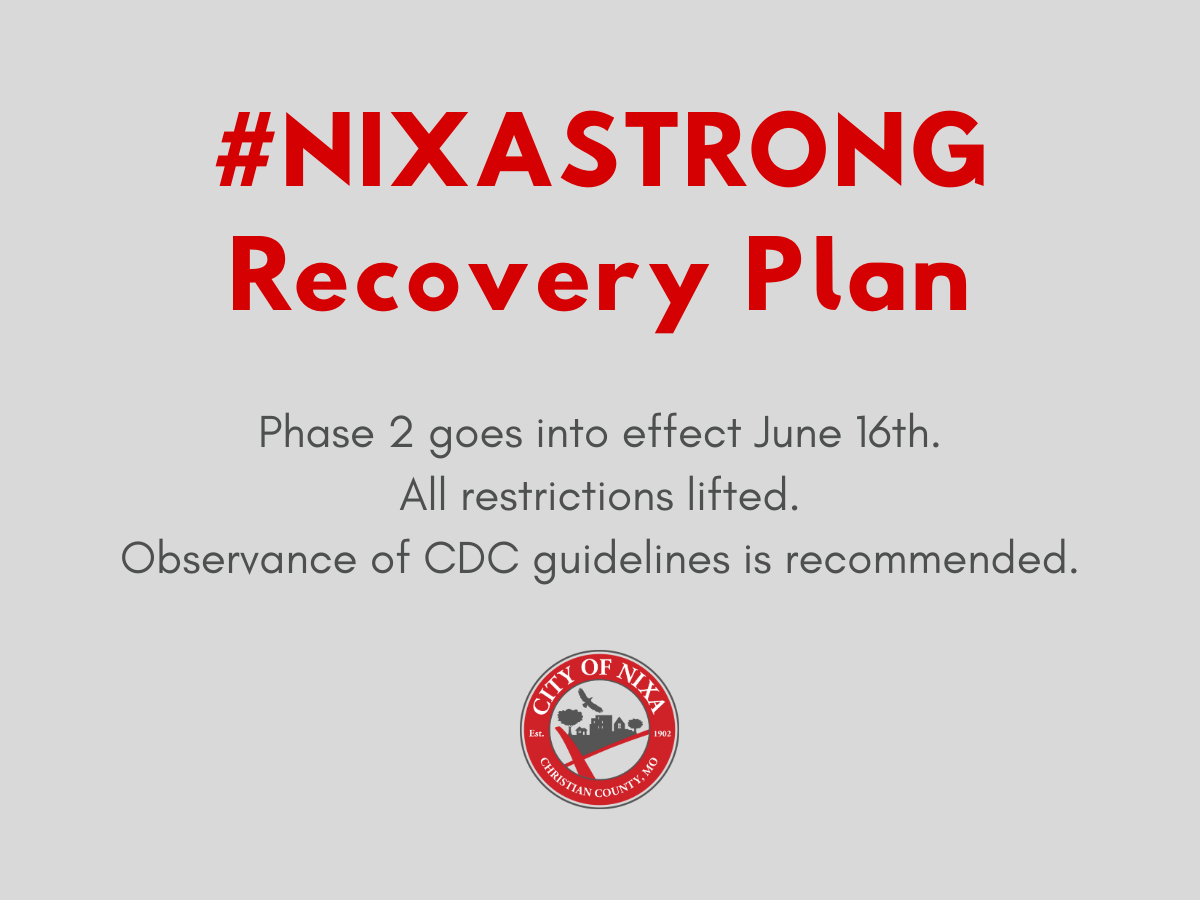 Nixa Mayor announces Phase 2 of Nixa Strong Recovery Plan